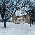 Stone Farmhouse In Winter by Jill Battaglia