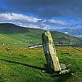 Stone On A Landscape, Ogham Stone by The Irish Image Collection