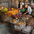 Storefront - Hoboken Nj - Picking Out Fresh Fruit by Mike Savad