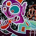 Strange Graffiti Creature Eating Sausages by Yurix Sardinelly