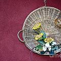 Straw Basket With Flowers by Mats Silvan