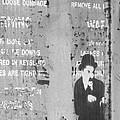 Street Graffiti Art - The Little Tramp Bw by Kathleen Grace