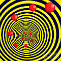 Summer Red Balls With Yellow Spiral by Christopher Shellhammer