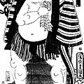Sumo Wrestler Kagamiiwa Of The West Side Litho by Padre Art