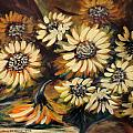Sunflowers 12 Square Painting by Gina De Gorna