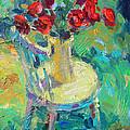 Sunny Impressionistic Rose Flowers Still Life Painting by Svetlana Novikova