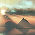Sunrays Shine Down On Three Pyramids by Corey Ford