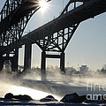 Sunrise Blue Water Bridges Fog by Ronald Grogan