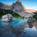 Sunrise Over Peak In Dolomites by Matteo Colombo