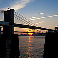 Sunrise Through The Two Bridges by Bill Cannon