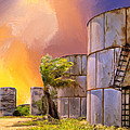 Sunset And Abandoned Oil Tanks by Dominic Piperata
