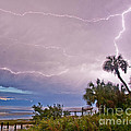 Sunset And Lightning by Stephen Whalen