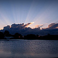 Sunset Light Rays Over The Pond by Aaron Burrows