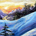 Sunset On The Snow by Trudy Morris
