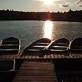 Sunset Over Bear Pond Sabattis Adventure Camp by Sven Migot