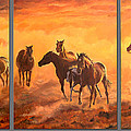 Sunset Run Triptych by Jana Goode