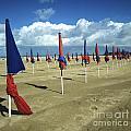 Sunshade On The Beach. Deauville. Normandy by Bernard Jaubert