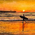Surfer Silhouette by Debra and Dave Vanderlaan