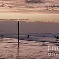 Surfers Pelicans And Pink Sky by Deborah Benoit