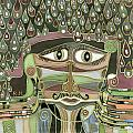 Surprize Drops Surrealistic Green Brown Face With  Liquid Drops Large Eyes Mustache  by Rachel Hershkovitz