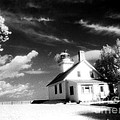 Surreal Black White Infrared Black Sky Lighthouse - Traverse City Michigan Mission Point Lighthouse by Kathy Fornal