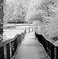 Infrared Surreal Black White Infrared Bridge Walk by Kathy Fornal