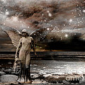Surreal Fantasy Celestial Angel With Stars by Kathy Fornal