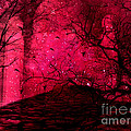 Surreal Fantasy Red Nature Trees And Birds by Kathy Fornal