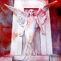 Surreal Impressionistic Red White Angel Art  by Kathy Fornal