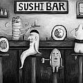 Sushi Bar Bw Version by Leah Saulnier The Painting Maniac