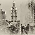 Swann Memorial Fountain In Sepia by Bill Cannon