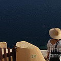Taking In The View Santorini by Bob Christopher
