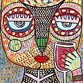 Talavera Feather Owl Drinking Red Wine S by Sandra Silberzweig