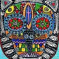 Talavera Sugar Skull Owl by Sandra Silberzweig