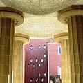 Tall Artistic Pillars Antoni Gaudi Guell Park Barcelona Spain by John Shiron