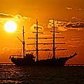 Tall Ship At Sunset by Alan Hutchins