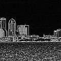 Tampa Panorama Digital - Black And White by Carol Groenen