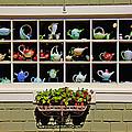 Tea Pots In Window by Garry Gay