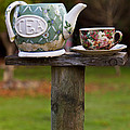 Teapot And Tea Cup On Old Post by Garry Gay