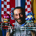 Technician With Lego Footballers At Robocup-98 by Volker Steger