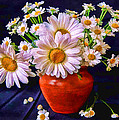 Technicolor Daisies In An Orange Pot by Elaine Plesser