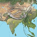 Tectonic Map Of Asia by Gary Hincks