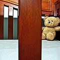 Teddy Bear In Baby Crib by Carolyn Marshall