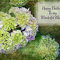 Textured Hydrangeas Birthday Mother Greeting Card by Debbie Portwood