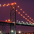 The Ambassador Bridge At Night - Usa To Canada by Gordon Dean II