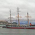 The Balclutha Ship And Alcatraz Island by Bill Owen