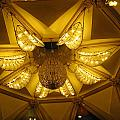 The Beautifully Lit Chandelier On The Ceiling Of The Iskcon Temple In Delhi by Ashish Agarwal