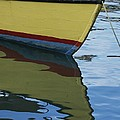 The Bow Of An Anchored, Striped Boat by Michael Melford