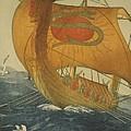 The Dragon Ship. Viking Ship At Sea by Everett
