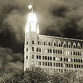 The Emily Morgan Hotel At Night In Black And White by Sarah Broadmeadow-Thomas